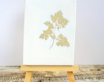 Small original acrylic painting, miniature canvas with wooden easel, Mother's Day gift, white and gold art leaf / plant / nature