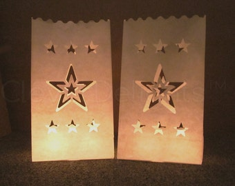 30 White Luminary Bags - Star Design - Wedding, Reception, and Party Decor - Flame Resistant Paper - Candle Bag - Luminaria