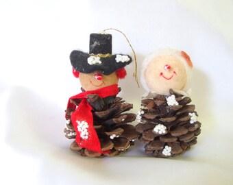 2 Vintage Snowman Christmas Ornaments, Pine Cone Couple with Spun Cotton Heads Ornaments