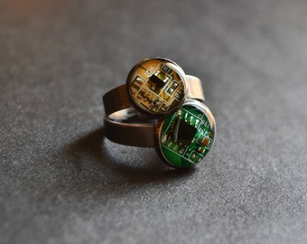 Stacking Ring, Yellow and Green Friendship Rings, Set of 2, Birthday Gift, Recycled Geek Jewelry, Circuit Board Rings