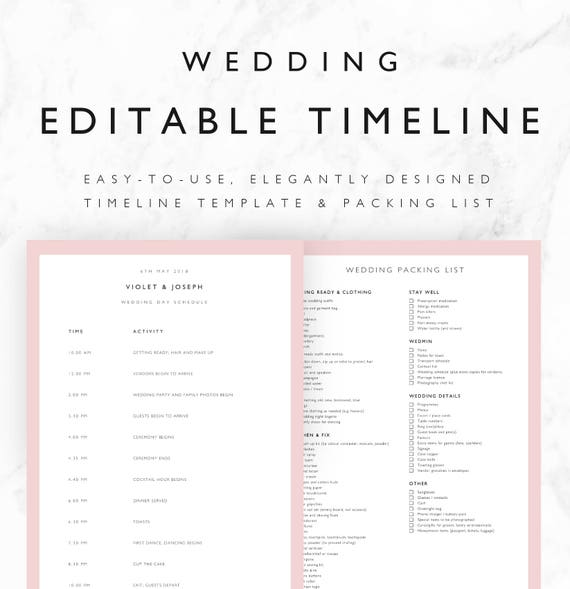 Violet Wedding Timeline Template Minimal Bridal Wedding Day - Wedding day itinerary template