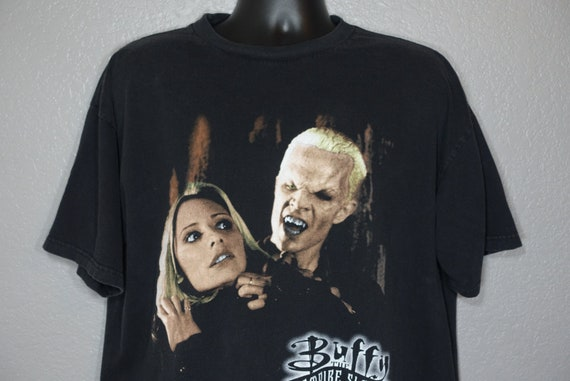 1998 Buffy the Vampire Slayer - Buffy Spike Bite Me - Double Sided TV Show Vintage T-Shirt