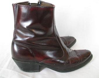 Vintage Oxblood Flame Cowboy Ankle Boots - Size 8.5D