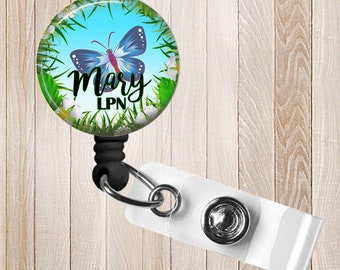 Personalized Retractable Badge Reel, Butterfly Garden, RN, Lpn, Cna ID Holder