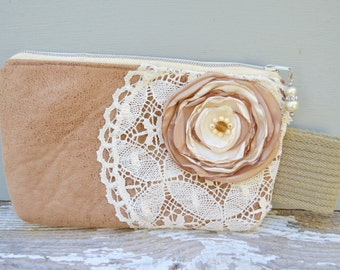 Handmade Bag . Purse . Clutch . Lace . Handmade USA . Flower