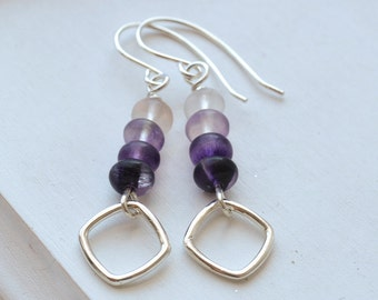 Purple Fluorite and Sterling Silver Earrings Handmade Wire Wrapped
