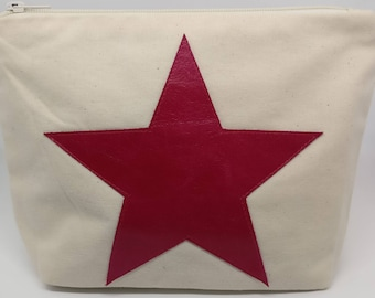 Cotton Canvas Makeup Bag With Pink Leather Star