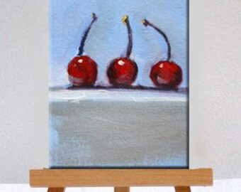 Cherries, Still Life, Fruit Painting, Original, Oil on Canvas, 4x6, Red, Blue, Small, Kitchen Wall Decor, Tiny Little, Minimalist