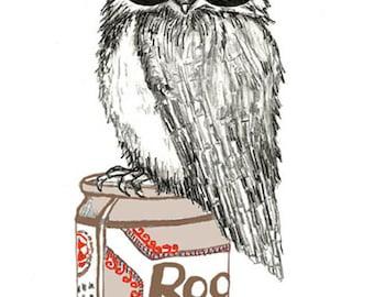 Owl Art - Bird Art - Owl Drawing - Owl Decor -Party Owl Illustration