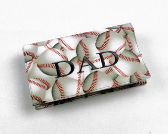 Personalized Fabric Checkbook Cover for Duplicate Checks with Pen Holder - Baseball