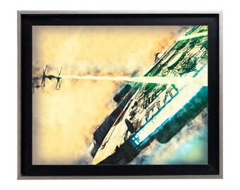 Watercolor Millenium Falcon Force Awakens Art Print Matte Print Poster 16 x 20 Splatter