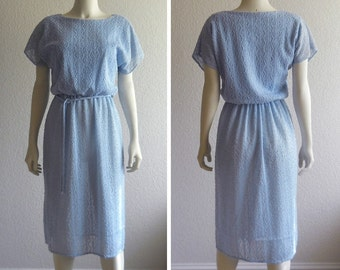 vintage 1970s light blue textured dress, boucle