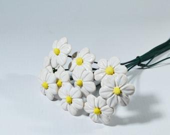Ceramic Flower White flower bouquet flower gift mom gift girl floral  decorations house flowers decor ceramic