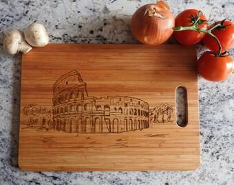 ikb113 Personalized Cutting Board Wood Coliseum Italy Rome Italian restaurant kitchen