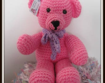Lovely soft traditional teddy bear, in pink, In stock and ready to post