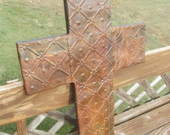 Large Vintage Rust Color Ceiling Tin Cross For Garden or Wall