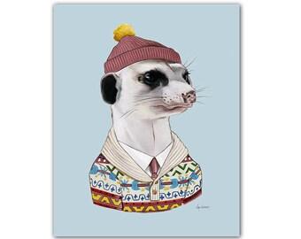 Cozy Meerkat art print  -  Animals in Clothes - Animal Art - Nursery Art - Animal Portrait - Ryan Berkley Illustration 5x7