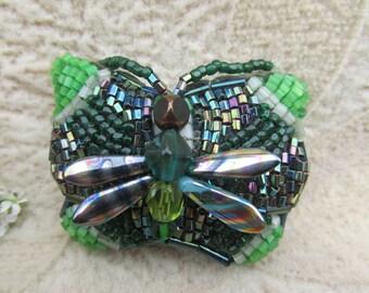 Forest Fey, Beaded Butterfly Barrette, Steampunk Victorian, Bead weaving, Green, Heavenly Hair Adornment