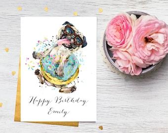 Card - Personalised Happy Birthday Card, Cute, Dancing Pug