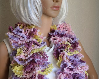 Hand knitted women's summer scarf