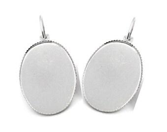 set of 10 blank earring brass cabochon 25 x 18 mm