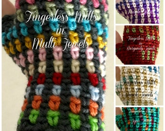Fingerless Mitts-Kaleidoscope (5 color options)