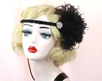 Flapper Headband, Great Gatsby Headpiece, Black Feather Hair Accessory, Feather Fascinator, 1920's Flapper, Silver Headband