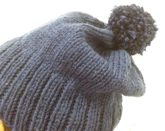 Hand knit slouchy beanie