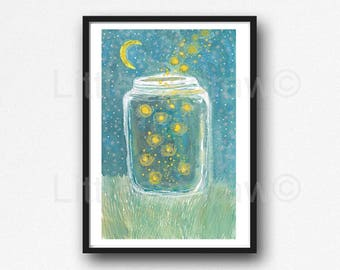 Firefly Print Fireflies In A Jar Watercolor Painting Print Firefly Wall Art Print Watercolour Lightning Bug Home Decor Wall Decor Unframed