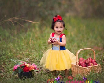 Snow White Princess Dress- First Birthday Dress- Birthday Theme- Disney Princess- Princess- Yellow- Blue- Red- Tulle- Snow White-Party Dress