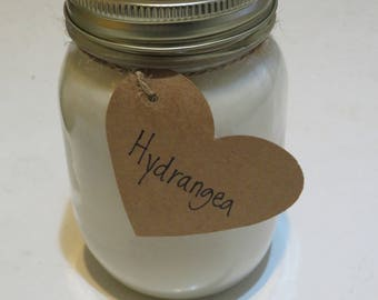 16 oz. Hydrangea Soy Candle- Hand Poured in Mason Jar
