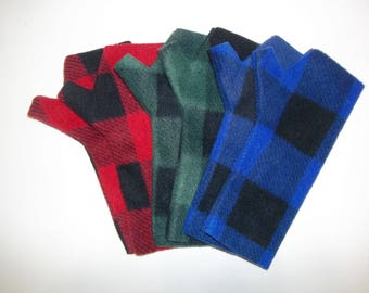 Fleece Fingerless Gloves - Buffalo Plaid Print, Red and Black, Green and Black, Blue and Black, Lumberjack