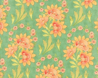 Fig Tree Fabric - Teal Hazel and Plum Fabric - Teal Floral Quilt Fabric By The 1/2 Yard
