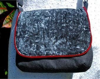Messenger Bag Cross Body Messenger Bag Mini Cross Body Purse Charcoal Denim Gray Denim Scrollscapes