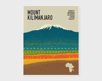 KILIMANJARO, Mountain Print, Adventure Poster, Hiking, Trekking, Wall Art Print, Wall Decor