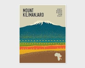 KILIMANJARO, Mountain Print, Adventure Poster, Hiking, Trekking, Wall Art Print, Wall Decor