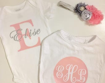 Monogram onesie girl, newborn girl coming home outfit, baby girl layette set, baby shower gift girl, new baby gift girl, personalized baby