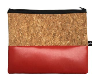 Pb_pochette Large, red and cork leather clutches, handmade, hand-held bag, glove compartment, door tricks