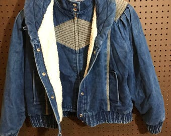 1980s Denim Jacket Vintage Women's Large / Lined For Warmth
