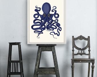 Octopus Print Blue 9- Octopus wall art Octopus poster octopus illustration Nautical Print Digital Print blue octopus Wall Art Wall Décor