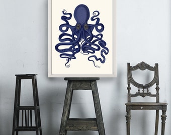Octopus Print Blue 9  Octopus Wall Art Octopus Poster Octopus Illustration  Nautical Print Digital Print