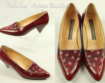 Vintage MAUD FRIZON Paris Italy Patent Leather RETRO Heels Pumps Shoes Red Apple 37