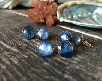 Blue Gemstone Studs ,Raw Gemstone Studs,Gemstone Earrings,Kyanite Stud Earrings,Stud Earrings,Blue Crystal Studs,Gold Studs Blue,Gold Studs
