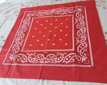Vintage, Red, White, Paisley Design, Cotton, Square, Scarf, Mothers Day Gift, Vintage Gift for Her