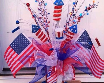 Patriotic Centerpiece,Patriotic Decor,Flag Decor