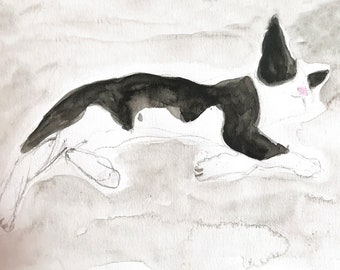 Print of the original watercolor painting 'Greek cat'