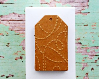 Kraft Brown Tags {10} | Embossed Gift Tags | Squiggly Line Tags | Embossed Squiggly Tags | Embossed Kraft Tags | Squiggly Line Tags