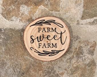 Farm Sweet Farm Wood Coaster