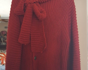 Hand crocheted 3/4 sleeve cardigan sweater with attached keyhole scarf in deep red