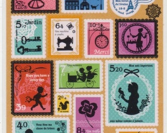Postage Stamp Stickers - Mind Wave Stickers - Reference A4365-66